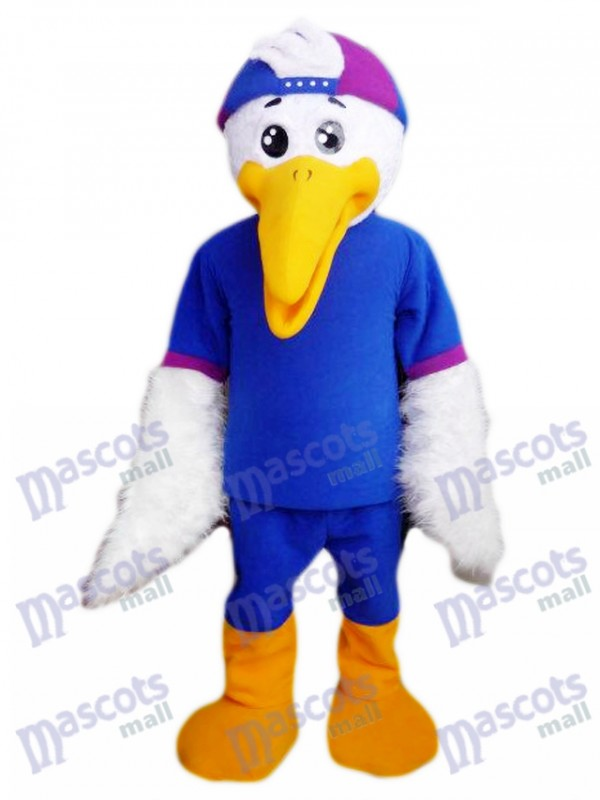 White Bird in Blue Shirt Mascot Costume Animal