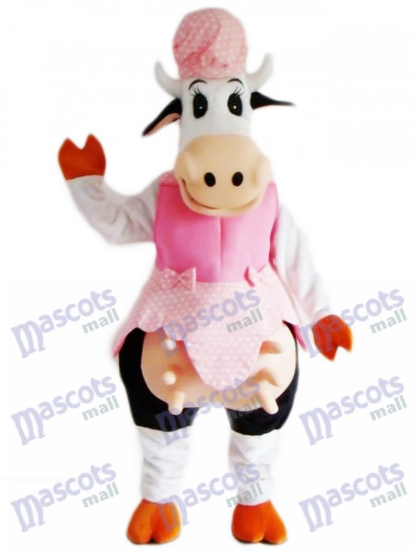 Cow in Pink Dress Mascot Costume Animal