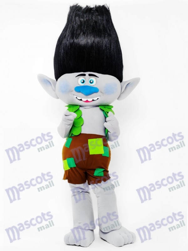Trolls Boy Branch Mascot Costume Black Hair Branch