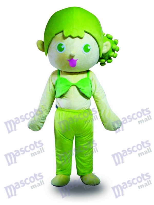 Green Hair Girl Mascot Costume Cartoon