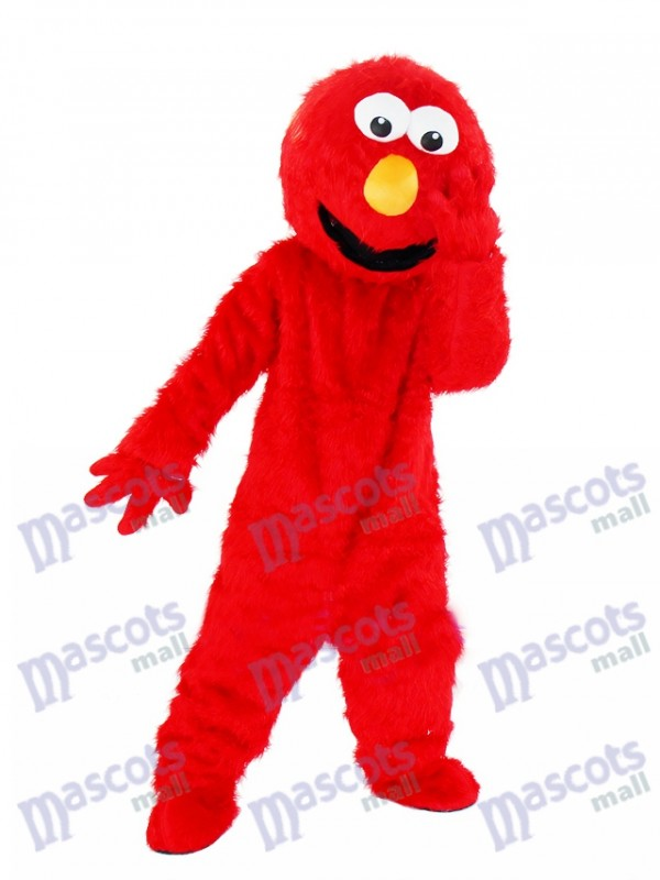 Sesame Street Long Fur Red Elmo Mascot Costume for Hallewoon & Xmas Adult Mascots