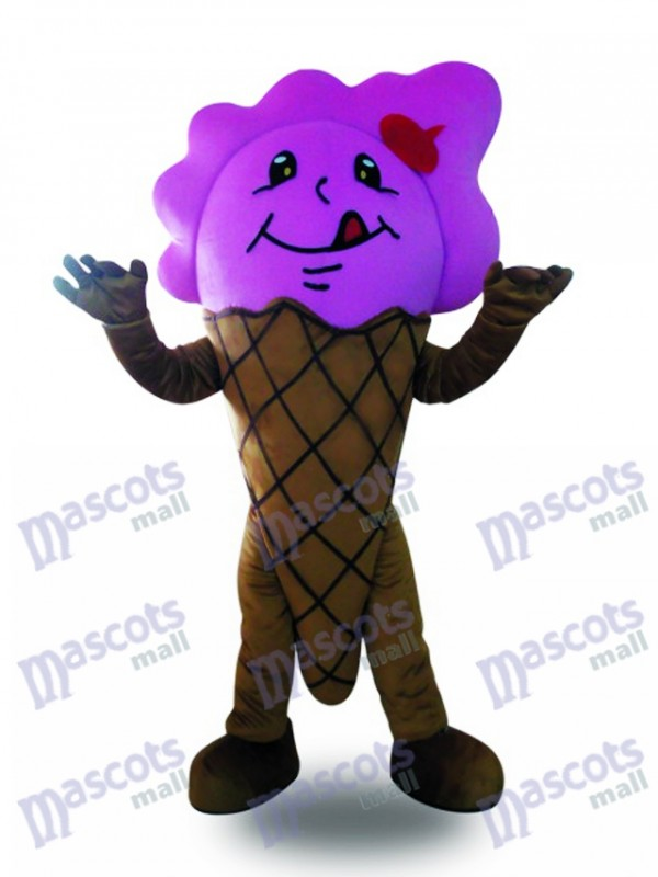 Purple Ice Cream Cone Mascot Costume Dessert