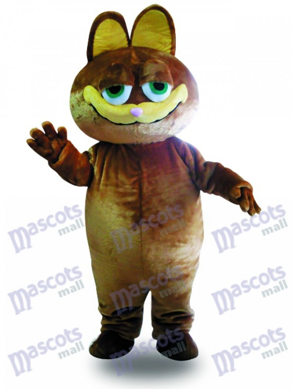Brown Cat Cartoon Mascot Adult Costume Animal