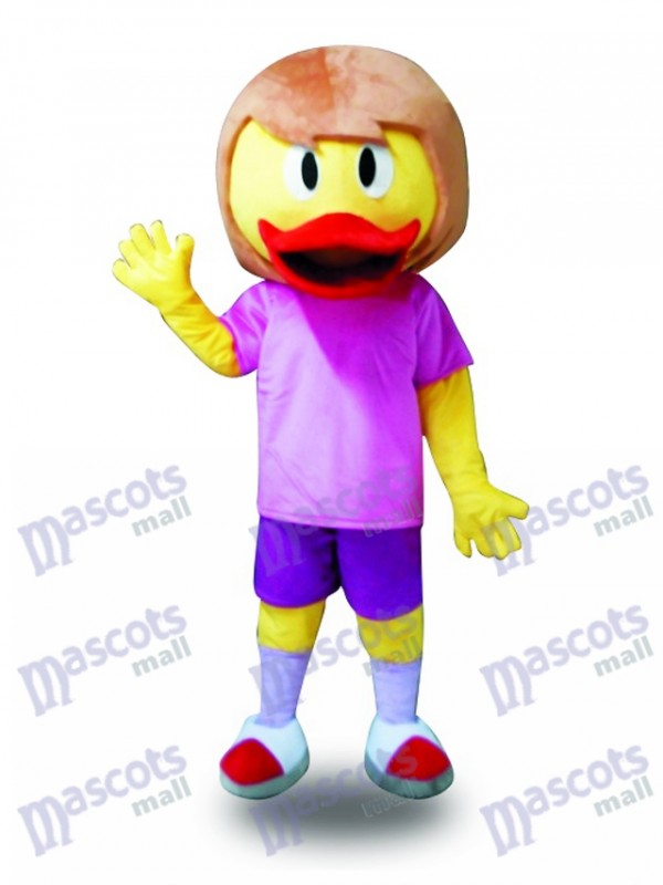 Purple Suit Yellow Duck Mascot Costume Farm