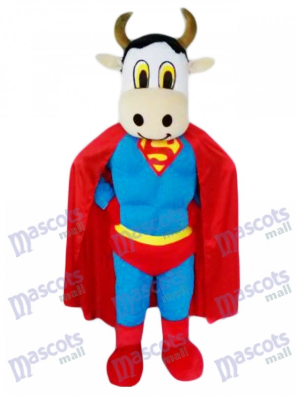 Super Cow Cattle with Superman Cape Mascot Costume Animal