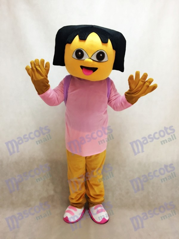 Pink Dora With Small Bag Anime Mascot Costume