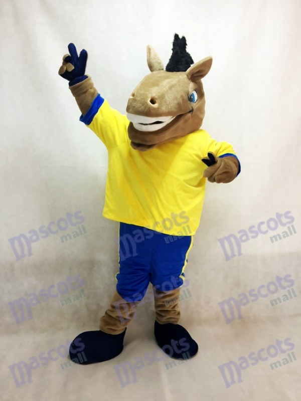 Sport Team Broncho Horse with Yellow Shirt Mascot Costume Animal