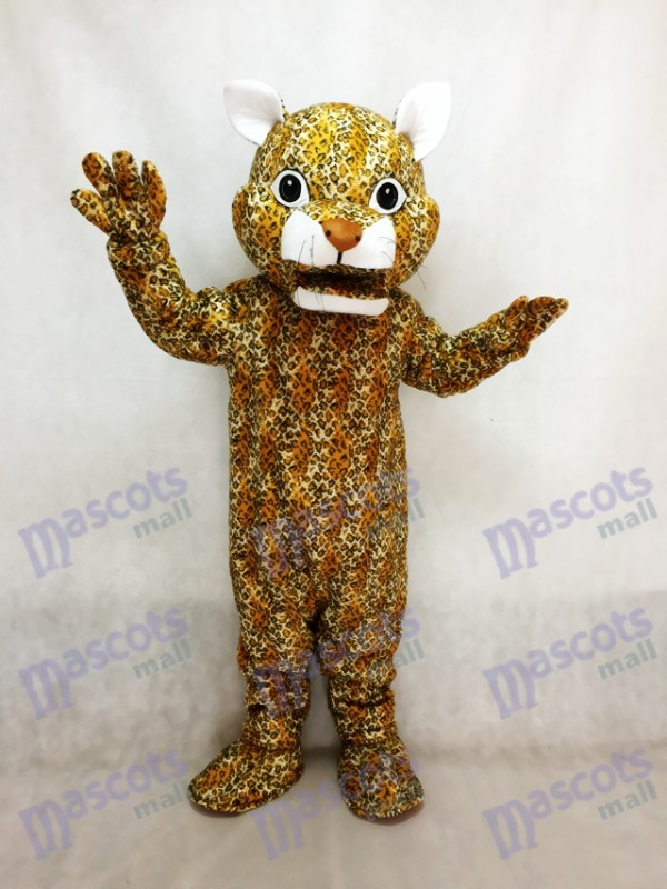 Leaping Leopard Mascot Costume with a Brown Nose