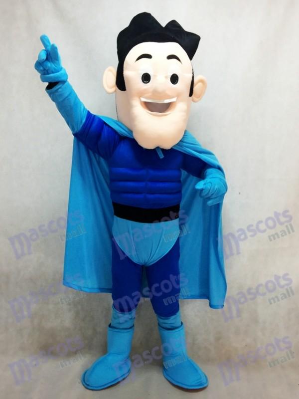 Super Hero with Blue Cloak Mascot Costume