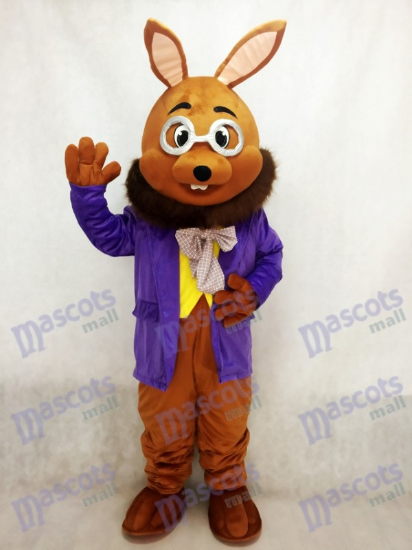 Easter Mr. Brown Bunny with Purple Tuxedo Mascot Costume
