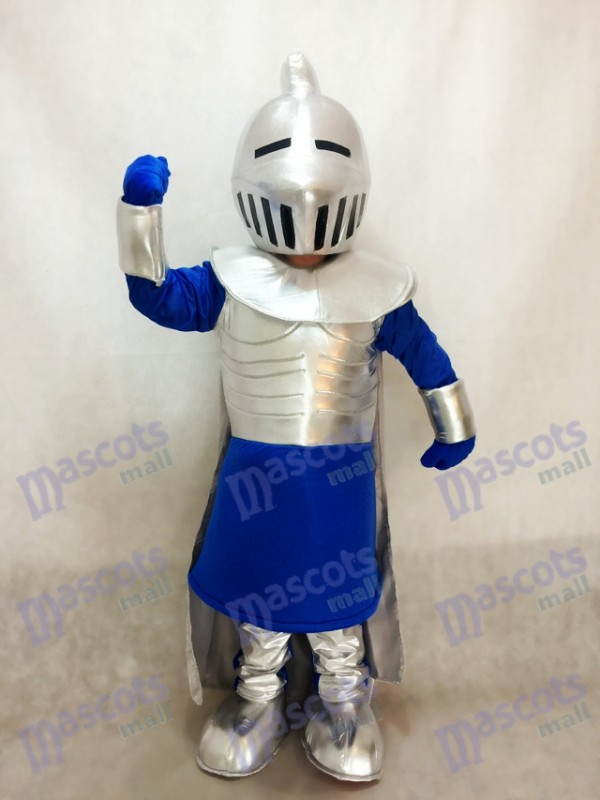 Silver Knight in Blue Mascot Costume People