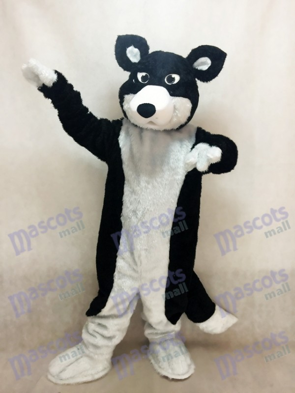 Black and White Border Collie Husky Dog Mascot Costume Animal