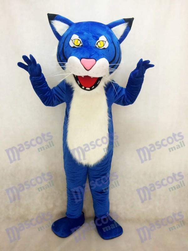 Adult Royal Blue Fierce Wildcat Mascot Costume