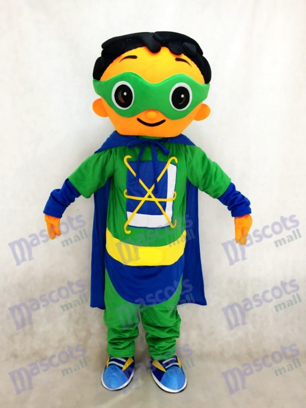 Super Why Super Hero Mascot with Green Cloak Costume Character for Party