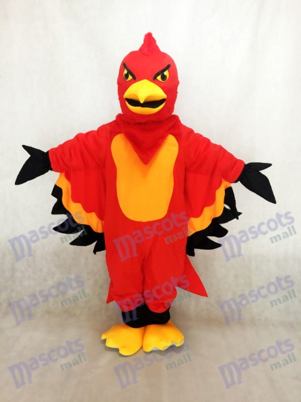 Cute Red and Orange Thunderbird Mascot Costume