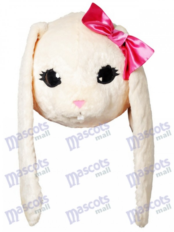 White Bunny Easter Rabbit Hare with Pink Bow Mascot HEAD ONLY