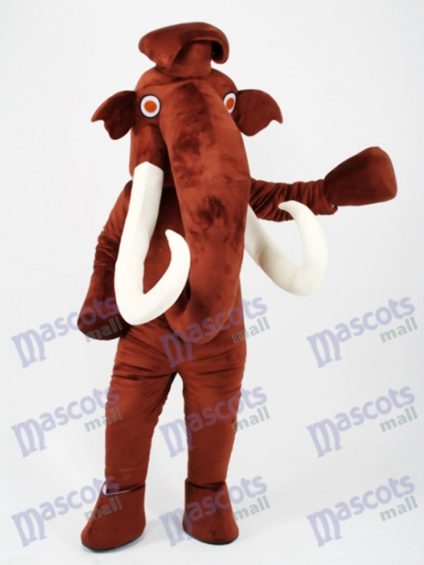 Brown Mammoth Elephant with Long Tusk Mascot Costume