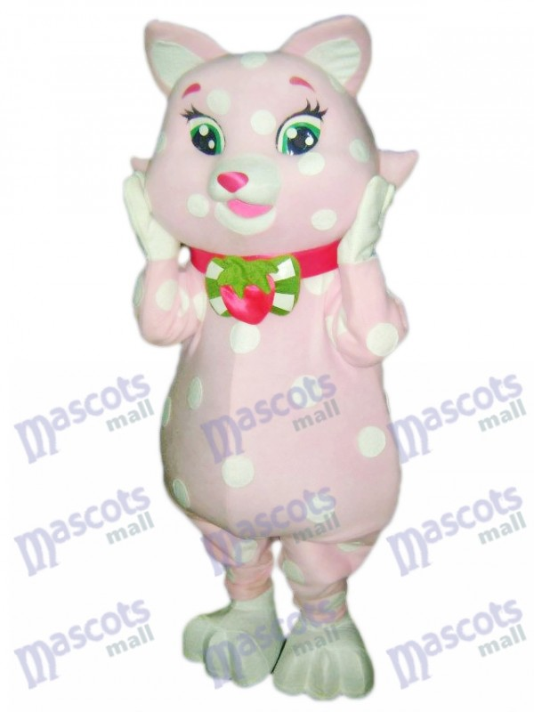 Pink Kitty Cat with White Spots Mascot Costume Animal Cartoon