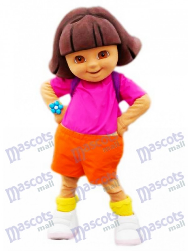 Pink Dora Smiling Girl Mascot Adult Costume