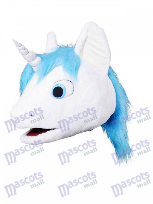Unicorn With Blue Mane Mascot HEAD ONLY