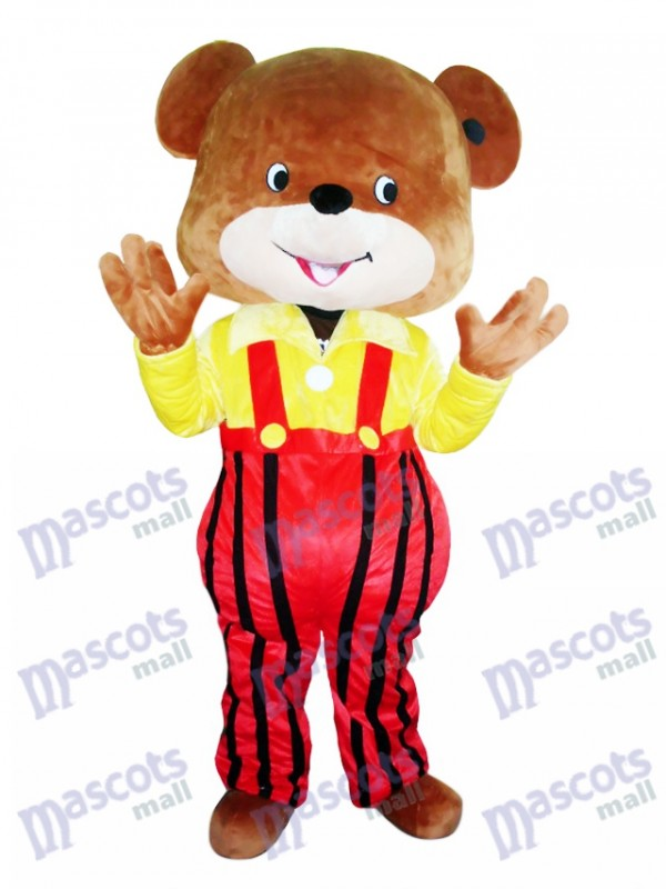 Yellow Coat Overalls Bear Mascot Costume Cartoon Animal