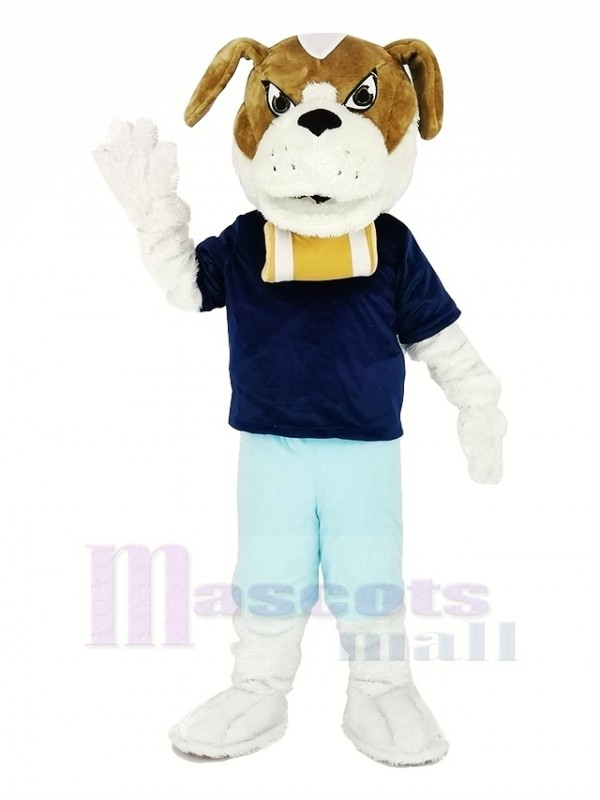 Saint Bernard Dog with Blue T-shirt Mascot Costume Cartoon