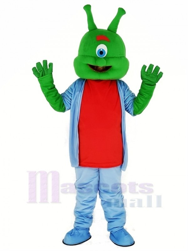 Green Alien with Blue Coat Mascot Costume Cartoon