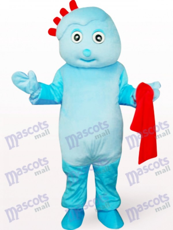 Cute Boy In Blue Clothe Mascot Costume