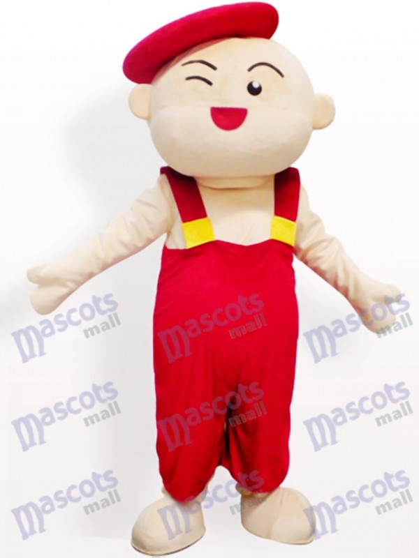 Red Hat Boy Cartoon Adult Mascot Costume