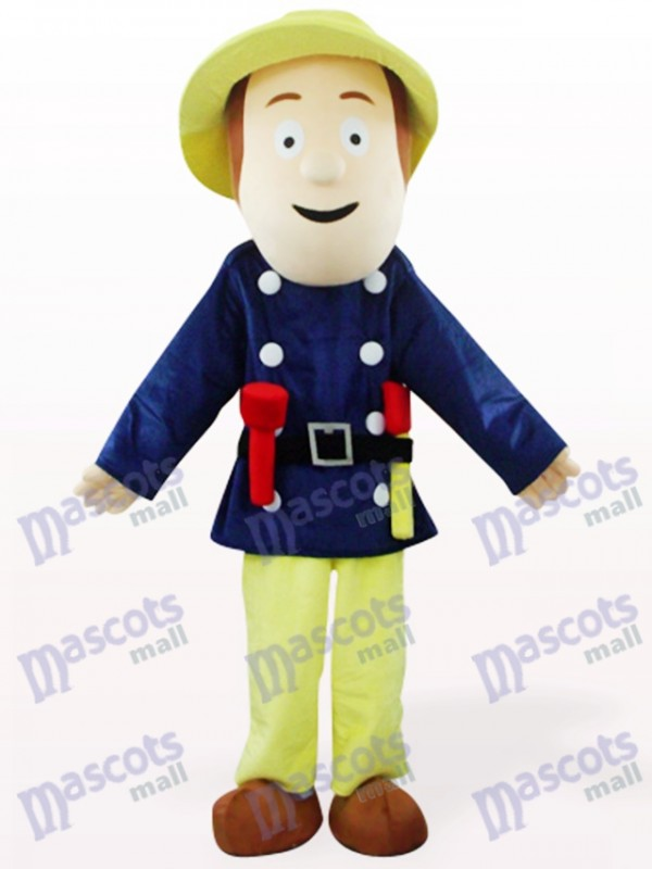 Fireman In Blue Clothes Cartoon Mascot Costume