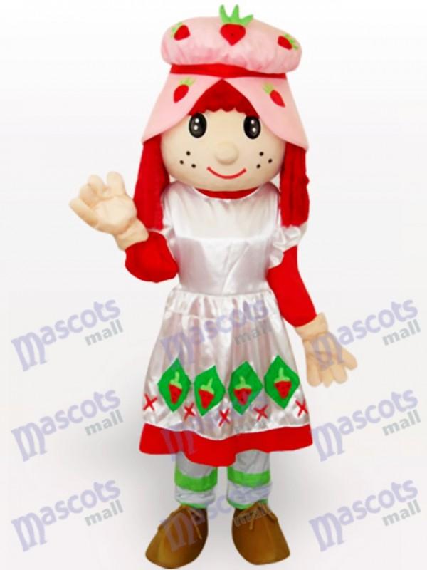 Strawberry Shortcake Girl Cartoon Adult Mascot Costume