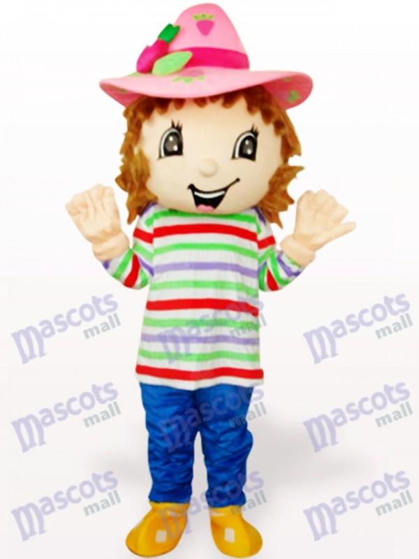 Lovely Colorful Strawberry Shortcake Girl Adult Mascot Costume