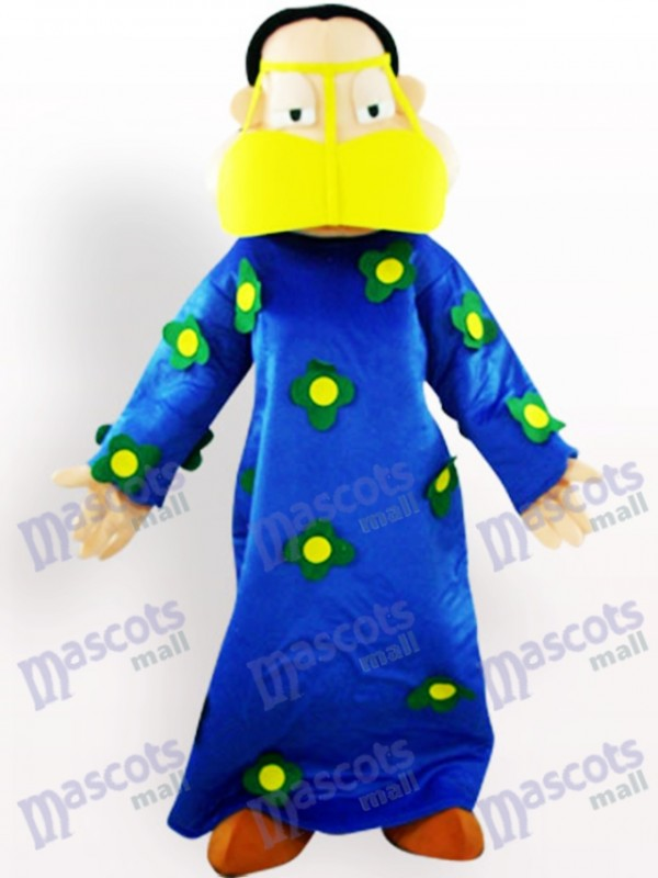 Fat Woman In Blue Clothes Cartoon Adult Mascot Costume