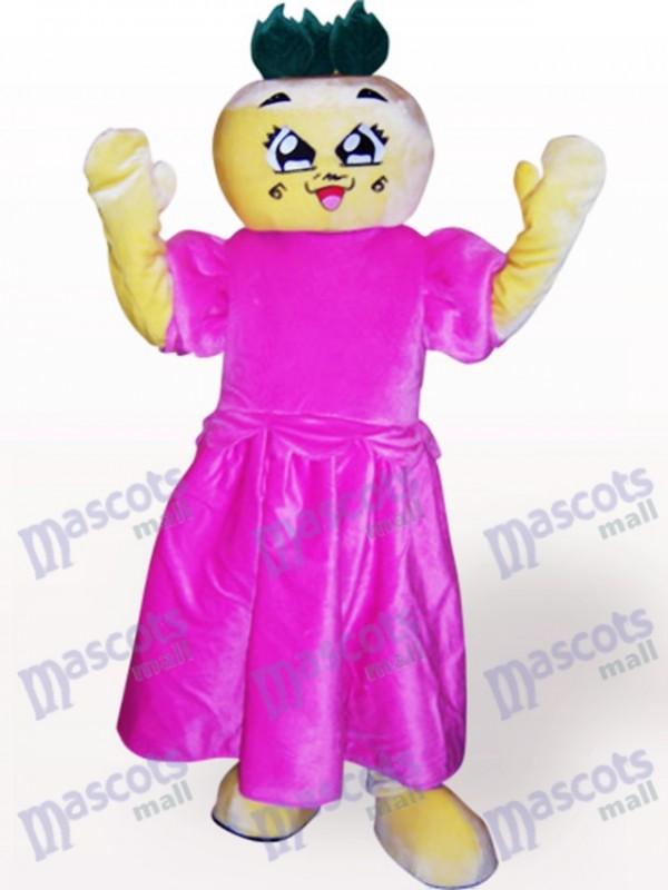 Flat Head Girl Cartoon Adult Mascot Costume
