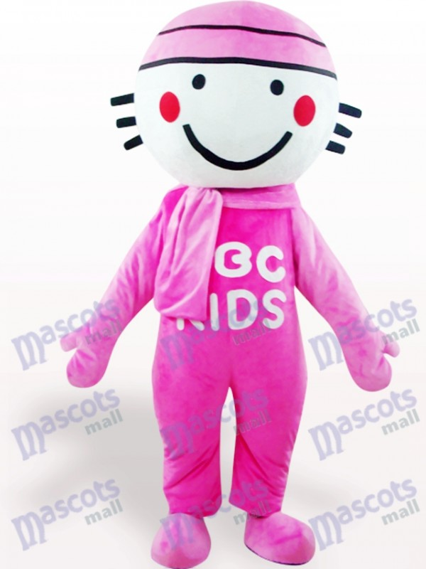 Pink Round Head Doll Cartoon Adult Mascot Costume