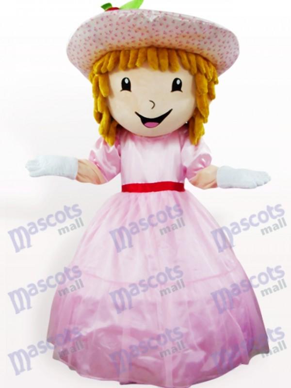 Pink Strawberry Shortcake Girl Cartoon Adult Mascot Costume