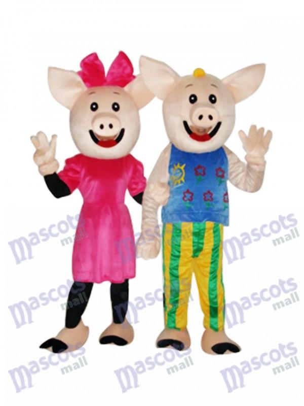 Cocoa Couple Pig Mascot Adult Costume