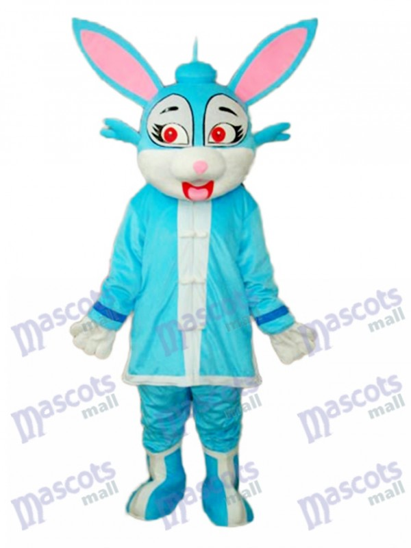 Easter Blue Rabbit in Padded Coat Mascot Adult Costume