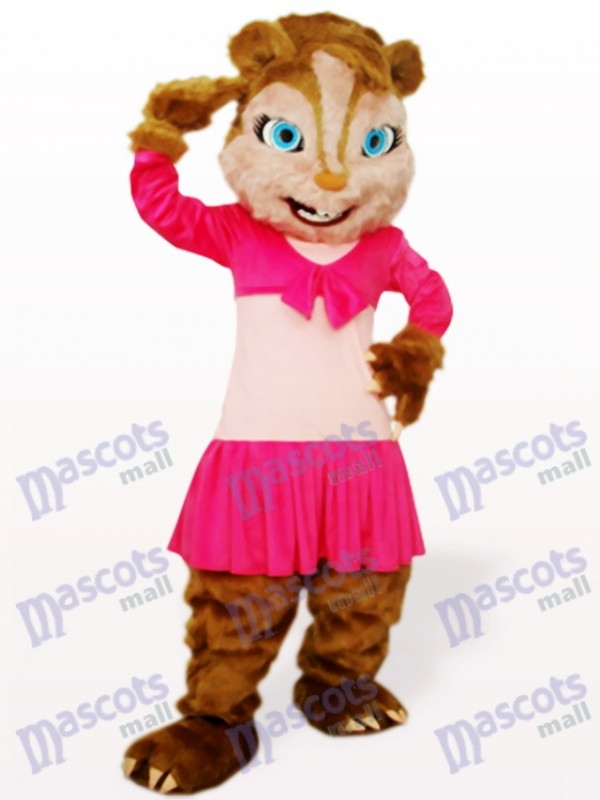 Pink Long Hair Squirrel Animal Adult Mascot Costume