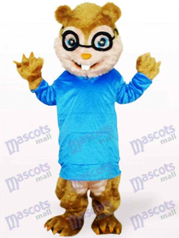 Blue Squirrel With Long Hair And Short Teeth Animal Adult Mascot Costume
