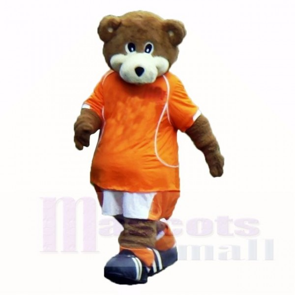 Football Bear with Orange T-shirt Mascot Costumes School
