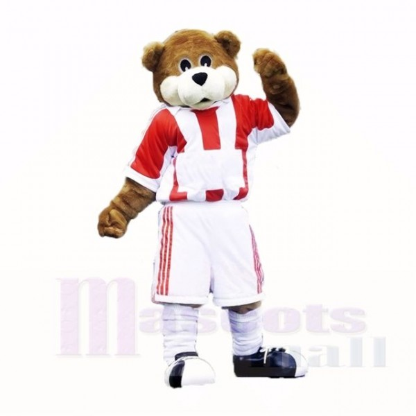 Football Bear with Red and White T-shirt Mascot Costumes School
