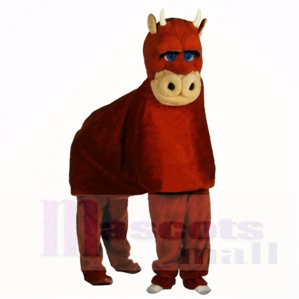 Brown Two Person Bull Mascot Costumes Adult