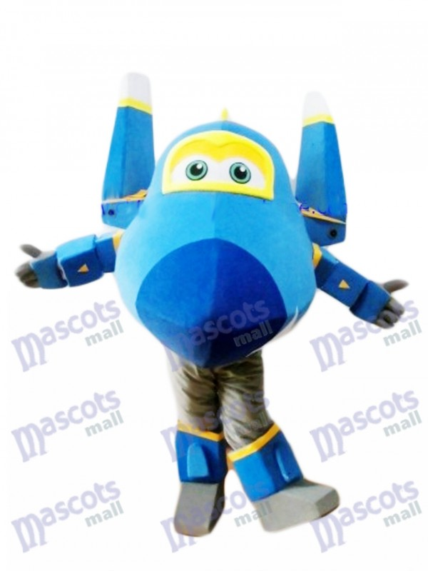 Blue Fighter Jet Jerome Super Wings Mascot Costume Cartoon Anime