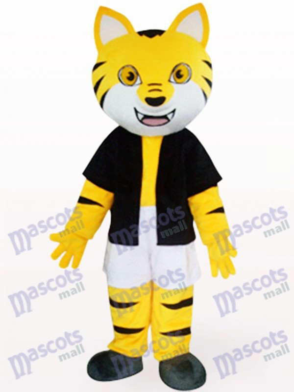 Orange Tiger In Black Underwaist Animal Mascot Costume