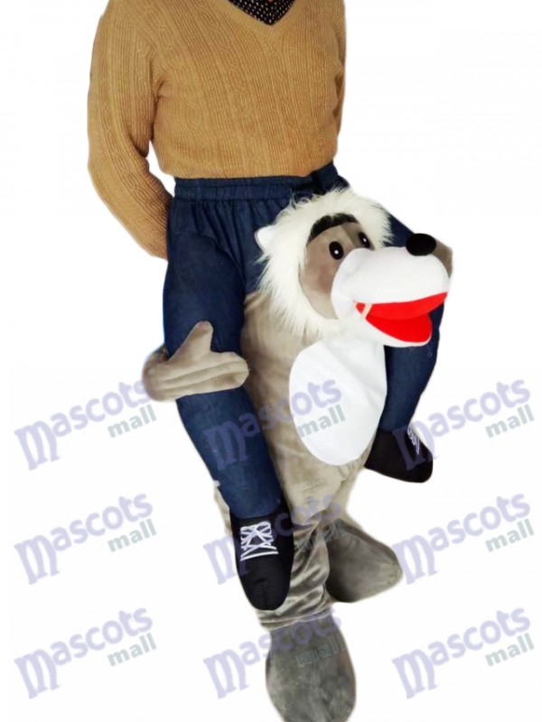 Piggyback Wolf Carry Me Ride Grey Wolf Mascot Costume