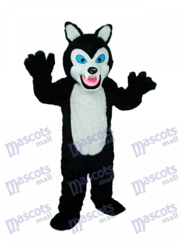 Long-haired Black Wolf Mascot Costume Animal