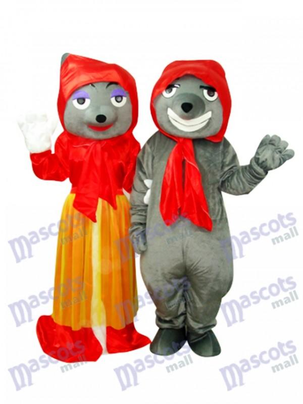 Grey Bad Wolf & Red Bad Wolf Mascot Costume Animal