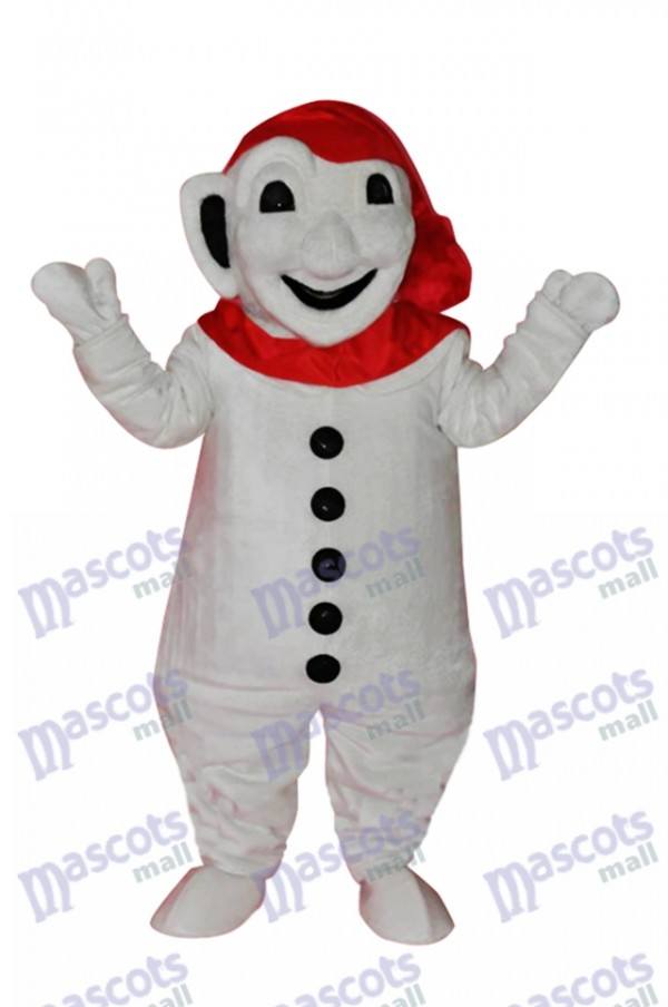 Smiling Snowman with Red Scarf Mascot Adult Costume